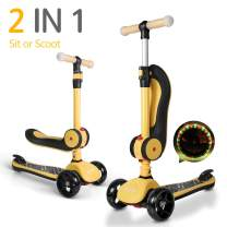 besrey Scooter Kids 3 Wheel Scooter Kick Scooters for 2-14 Years with Adjustable Seat and Handle for Toddler Child - Yellow & Black red