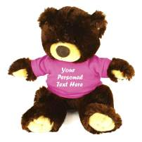 Plushland Chocolate Noah Teddy Bear 12 Inch, Stuffed Animal Personalized Gift - Custom Text on Shirt - Great Present for Mothers Day, Valentine Day, Graduation Day, Birthday (Pink Shirt)