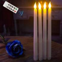 """Flameless Taper Candles,Realistic & Bright Flickering Bulb Battery Operated 11"""" Ivory LED Flameless Candlesticks with Remote Timer for Wedding,Table,Window,Outdoor Celebration,Set of 4"""