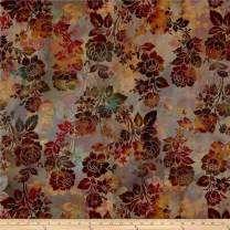 In The Beginning Fabrics Diaphanous by Jason Yenter Night Bloom Mulberry Fabric, 1, Fabric by the Yard