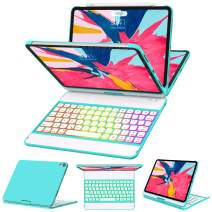 iPad Pro 11 Case with Keyboard 2018-360 Rotatable - Wireless/BT - Backlit 17 Color - Auto Sleep Wake - Thin & Light - iPad Case with Keyboard【Support Apple Pencil 2nd Gen Charging】