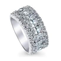 BERRICLE Rhodium Plated Sterling Silver Statement Art Deco Anniversary Wedding Half Eternity Band Ring Made with Swarovski Zirconia