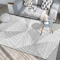 Living Room Rugs, 5.3'x 8' YAMTION Modern Multi-Function Area Rugs Collection, Non Slip Abstract Striped Black Soft Carpet, Indoor Bedroom Rugs in Nursery, Dining Room, Office, Dormitory