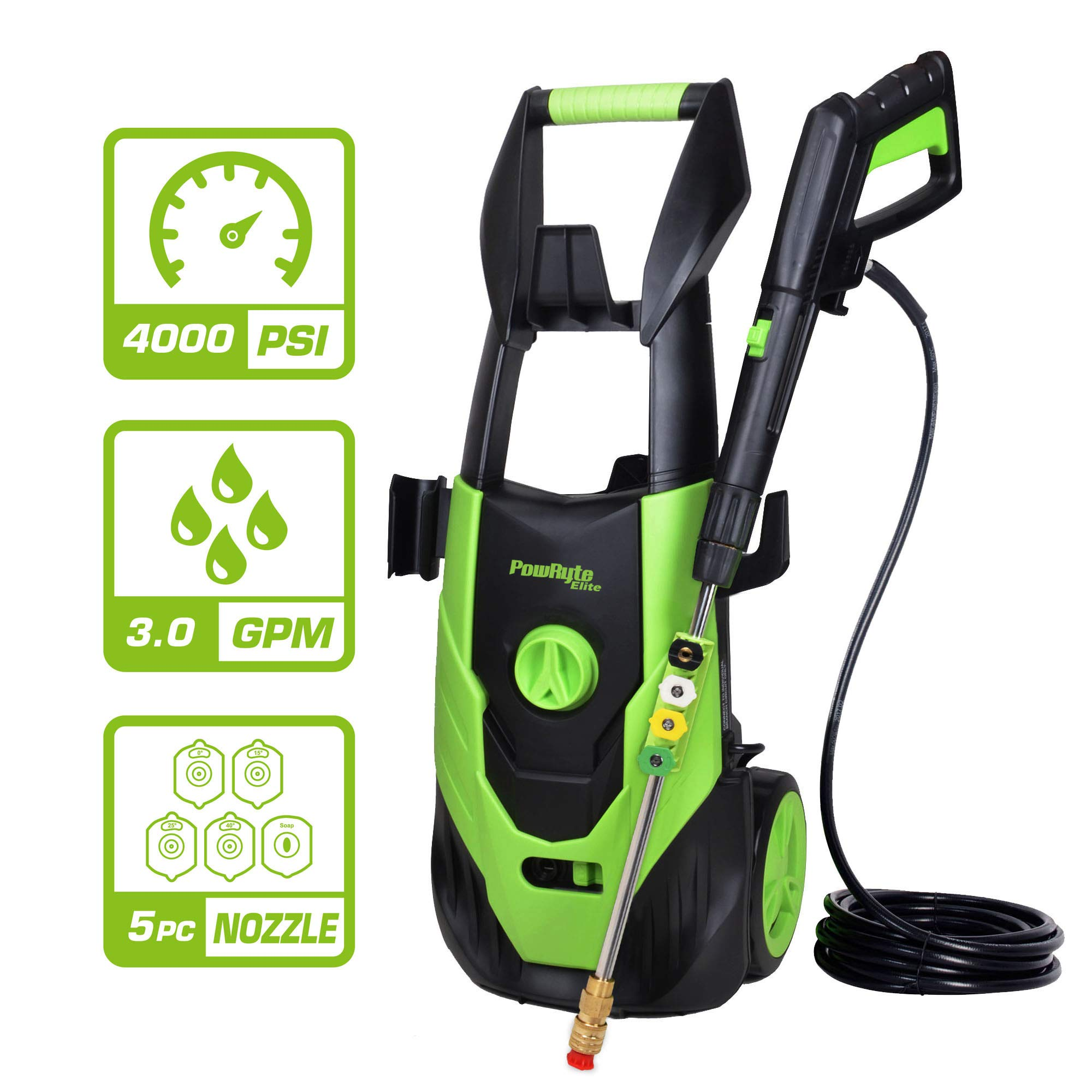 PowRyte Elite 4000PSI 3.0GPM Electric Pressure Washer, Electric Power Washer with 5 Quick-Connect Spray Tips,Car Washer with Thermal Protector,Green