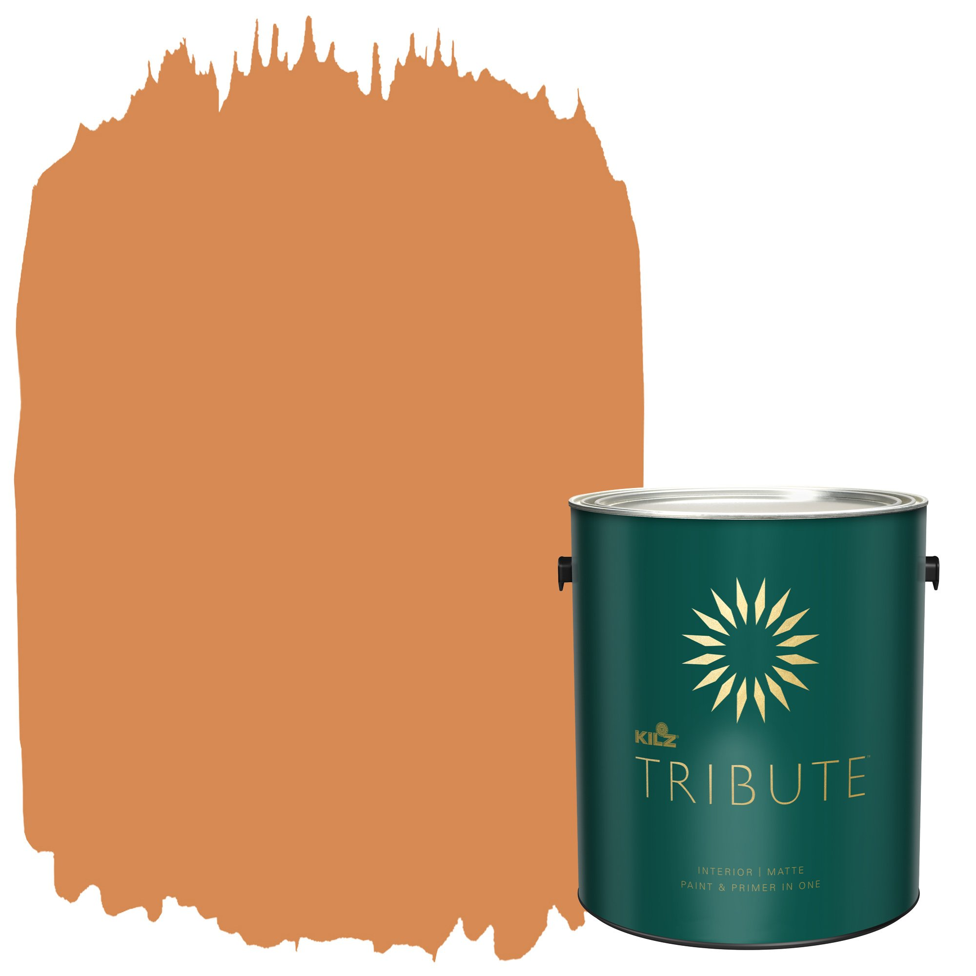 KILZ TRIBUTE Interior Matte Paint and Primer in One, 1 Gallon, Bright Marigold (TB-95)