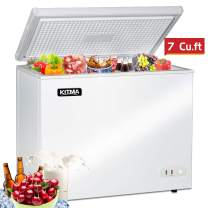 Commercial Top Chest Freezer - Kitma 7 Cu. Ft Deep Ice Cream Freezer with Adjustable Thermostat, Rollers, Solid Door,White