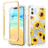 Caka Case for iPhone 11 Case Glitter Liquid Flower Full Body Protection with Built in Screen Protector for Girls Women Girly Bling Shockproof Protective Case for iPhone 11 6.1 (Sunflower)