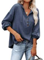 Womens Winter Long Sleeve Henley V Neck Button Down Casual Loose Tshirts Hoody Sweatshirt Lightweight Pullover Tops Blue Small