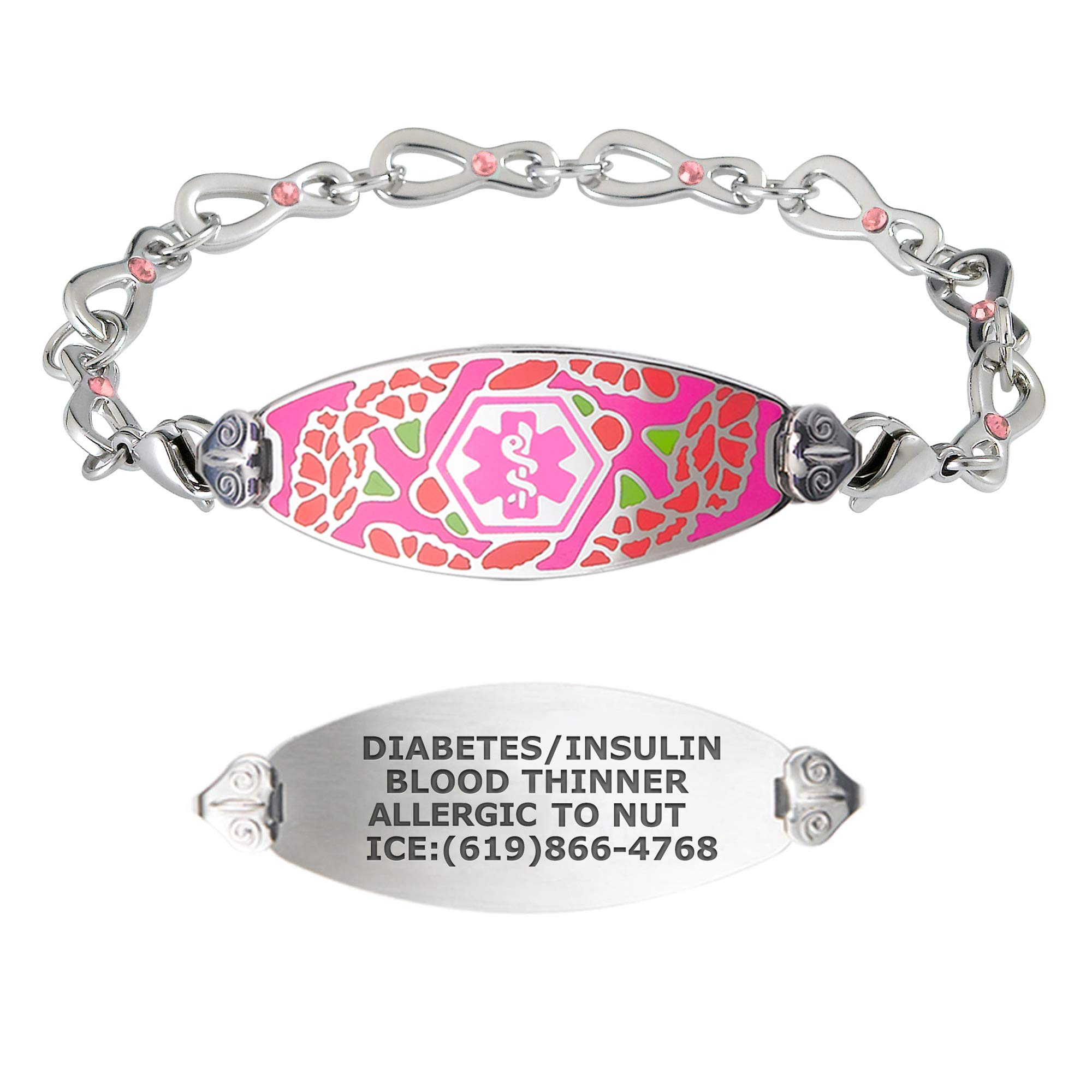 Divoti Custom Engraved Medical Alert Bracelets for Women, Stainless Steel Diabetic ID Bracelet for Mom, Mothers w/Free Engraving – Graceful Carnation Tag w/Infinity Rose Crystal Chain– Color/Size