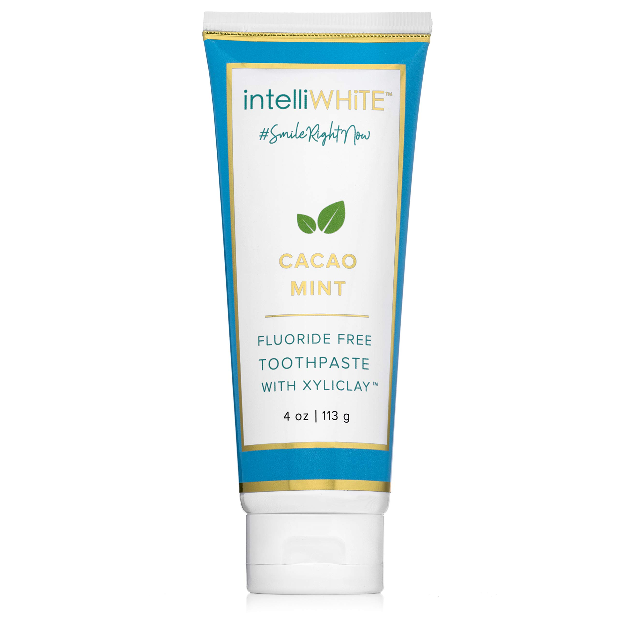 intelliWHiTE Naturally Crafted Cacao-Mint Fluoride-Free Toothpaste With Xyliclay - Cleanses & Polishes Teeth To a Glossed Finish, Removes Stains & Whitens, Aloe Vera & Bentonite Clay, Non Toxic, 4oz