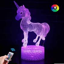 Unicorn Gift Unicorn Night lamp for Kids, Unicorn Toy for Girls, 3D Light 7 Colors Change with Remote, Birthday Gifts for Children Girl (Unicorn)