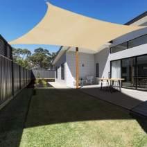 Ankuka Sun Shade Sail Canopy Rectangle UV Block for Outdoor Patio and Garden, Yard Activities (13' × 10', Sand)