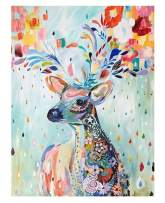 """7-Mi DIY Paint by Numbers, Canvas Oil Painting Kit for Kids & Adults, 16"""" W x 20"""" L Drawing Paintwork with Paintbrushes, Acrylic Pigment (Colorful Deer)"""