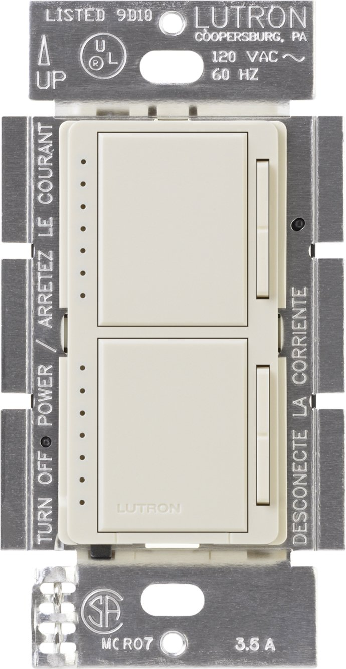 Lutron Maestro Dual Dimmer Switch for Incandescent and Halogen Bulbs, 300-Watt, Single-Pole, MA-L3L3-LA, Light Almond