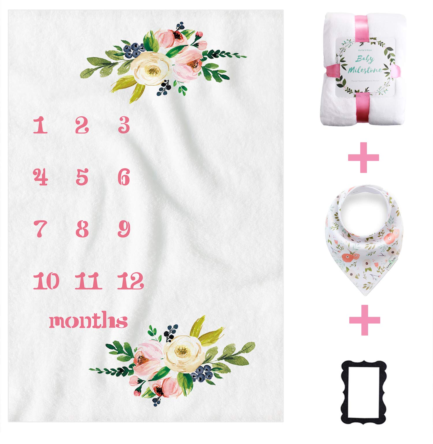 Kute 'n' Koo Premium Fleece Baby Monthly Milestone Blanket for Boy Girl | Personalized Photography Background Blankets | Thick Flannel for Mom Newborn Bib + Frame(Gift Set