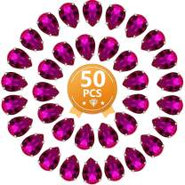 Teardrop Rhinestones 50 PCS 13x18 mm Flatback Rhinestones Sew on with Settings for Clothes Crafts Projects,Rose