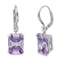 BERRICLE Rhodium Plated Sterling Silver Purple Radiant Cut Cubic Zirconia CZ Statement Solitaire Leverback Anniversary Wedding Dangle Drop Earrings