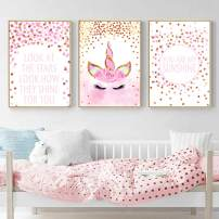 "Unicorn Wall Posters,Unicorn Art Print Set of 3 (8""x11.8"") Birthday Festival for Boys Girls Kids Bedroom Decor Nursery Room Home Decor (No Frame)"