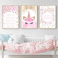 "Unicorn Wall Posters,Unicorn Art Print Set of 3 (8""x11.8"") Birthday Festival for Boys Girls Kids Bedroom Decor Nursery Room Home Decor (No Frame)"