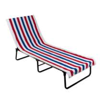 DII Stripe Beach Lounge Chair Towel with Fitted Top Pocket, 26x82, Red, White, & Blue