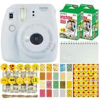 Fujifilm Instax Mini 9 Instant Camera (Smokey White) + Fujifilm Instax Mini Twin Pack Instant Film (40 Shots) + Scrapbooking Album + 20 Sticker Frames Emoji Package + Emoji Photo Peg Pins + Stickers