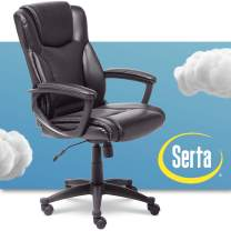 Serta Executive High Back Office Chair with Lumbar Support Ergonomic Upholstered Swivel Gaming Friendly Design, Bonded Leather Black