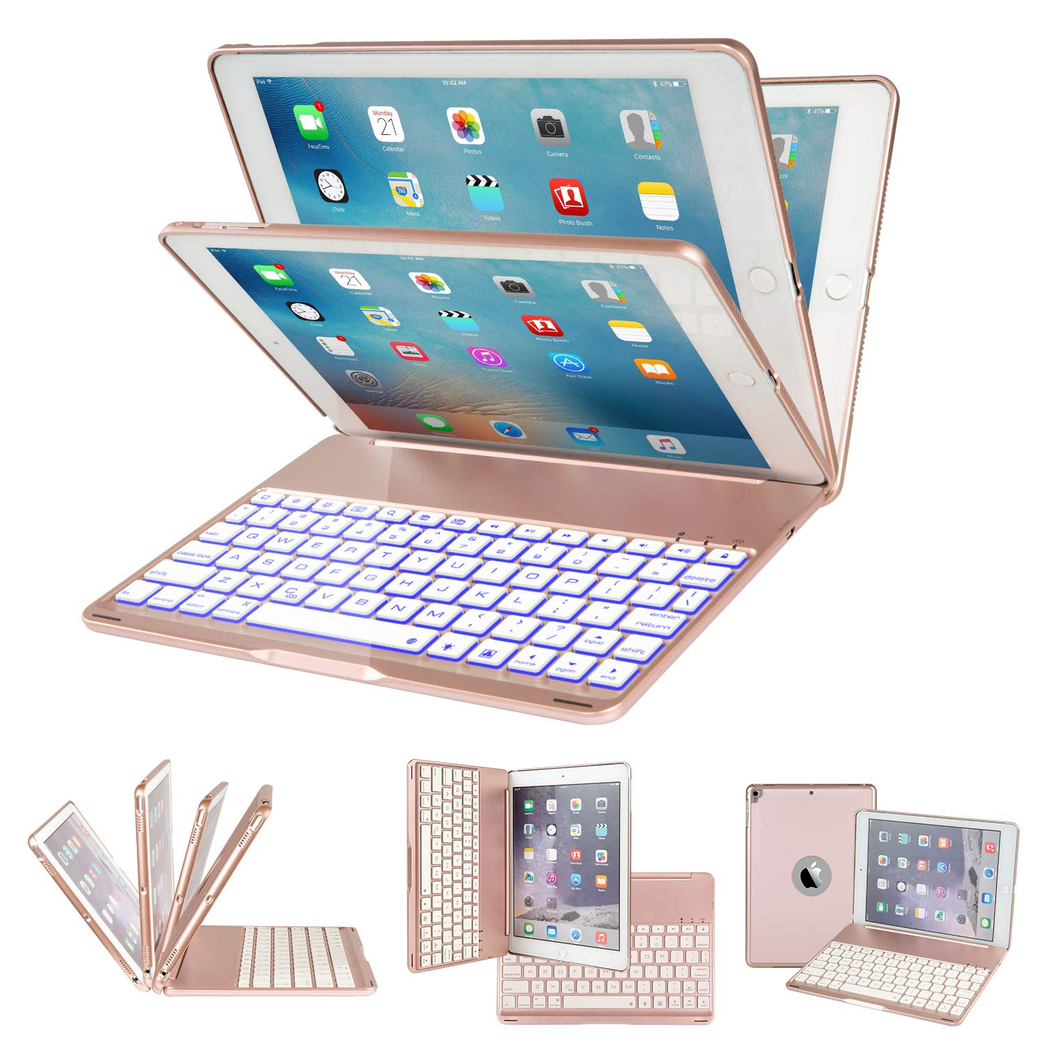 IEGROW iPad Keyboard Case for iPad 6th Gen (2018)- iPad 5th Gen (2017)- iPad Pro 9.7- iPad Air- iPad Air 2-135 Degree Rotation- 7 Color Backlits- Wireless Flip Cover with Keyboard (Rose Gold-F8AS)