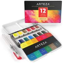 ARTEZA Watercolor Paint, Set of 12 Assorted Vibrant Colors in Half Pans (in Tin Box) with Water Brush Pen for Artists, Art Painting, Ideal for Watercolor Techniques