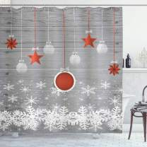 "Ambesonne Christmas Shower Curtain, Cloth Fabric Bathroom Decor Set with Hooks, Pendant Stars Baubles, 70"" Long"