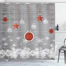 "Ambesonne Christmas Shower Curtain, Cloth Fabric Bathroom Decor Set with Hooks, Pendant Stars Baubles, 70"" Long"