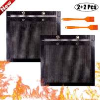 YBB 2 Pcs BBQ Grill Mesh Bag with 2 Pcs Silicone Brush, Non-Stick Large BBQ Baked Grilling PTFE Bag Heat-Resistant Reusable Easy to Clean Mesh Backing Bag for Outdoor Picnic Cooking Barbecue