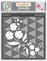 CrafTreat Flower Triangle Stencils for Painting on Wood, Wall, Tile, Canvas, Paper and Floor - Flower Fusion Triangles Stencil - 6x6 Inches - Reusable DIY Art and Craft Stencils for Painting Flowers