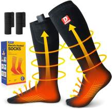 Upgraded Heated Socks for Women and Men, Smart Heating Socks with 3000 mAh Rechargeable Batteries, Electric Foot Warmers and Heat Therapy Socks for Motorcycle Hiking Skiing Fishing Camping Hunting