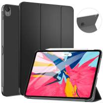 "ZtotopCase for iPad Pro 11"" 2018 - Slim Lightweight Trifold Stand Smart Shell with Auto Wake/Sleep + Rugged Translucent Back Cover Support iPad Pencil Charging for iPad Pro 11, Black"