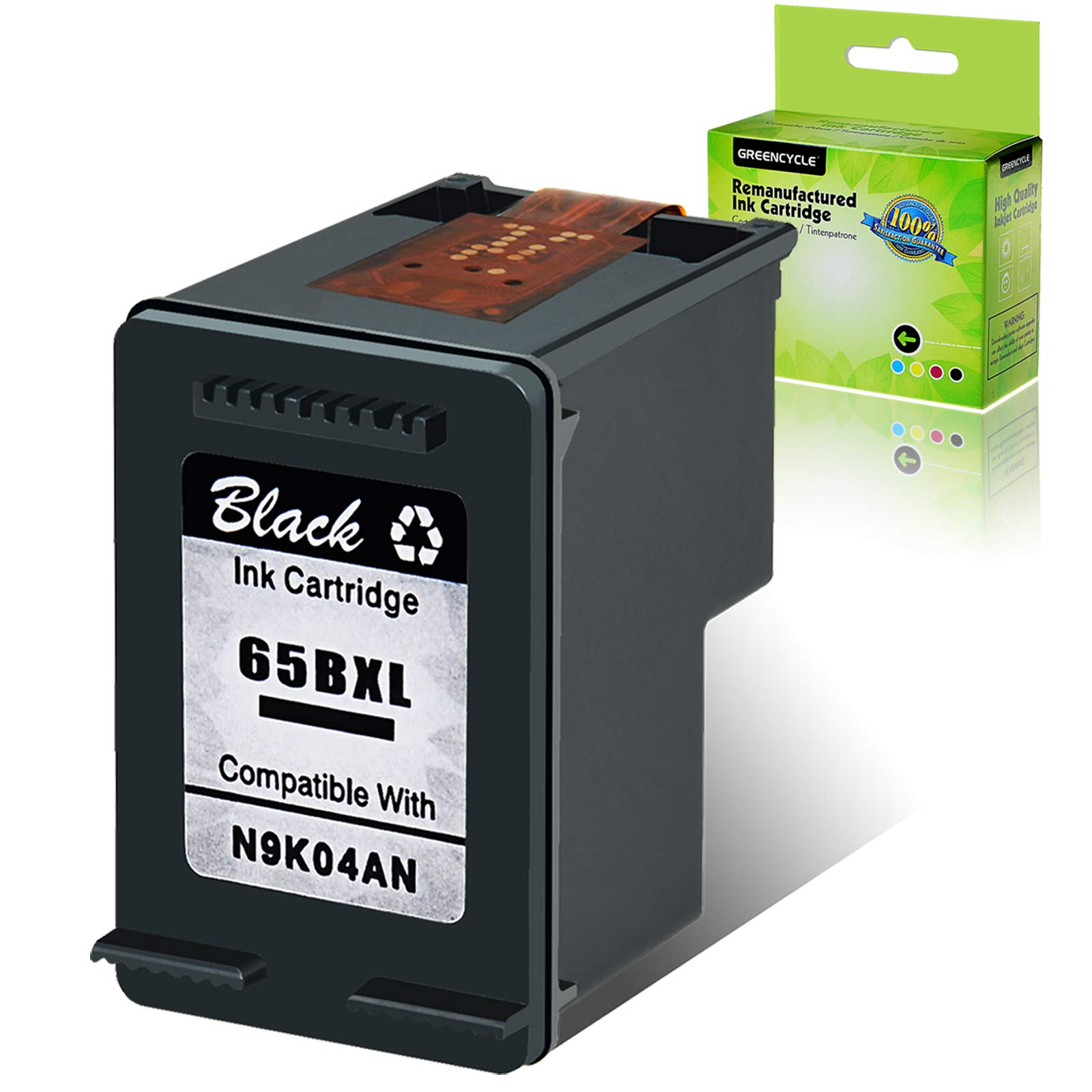 GREENCYCLE Re-Manufactured 65XL 65BXL Ink Cartridge Compatible for HP Envy 5055 5052 5058 Deskjet 2655 2652 2622 3720 3730 3752 3758 All-in-One Printer, with New Version chip (Black, 1 Pack)