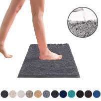 DEARTOWN Non-Slip Shaggy Bathroom Rug,Soft Microfibers Chenille Bath Mat with Water Absorbent, Machine Washable(Grey,20x32 Inches)