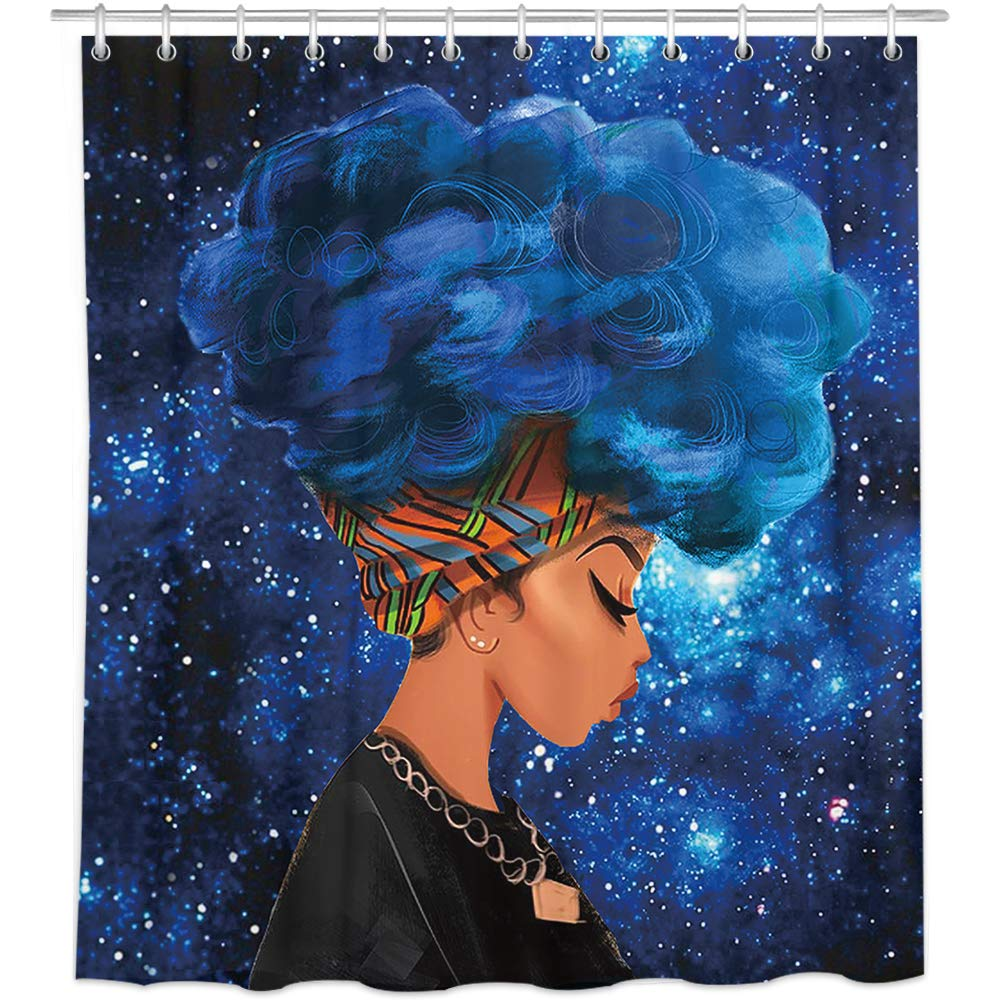 Bonsai Tree African American Shower Curtains, Afro Girl Cloth Shower Curtains in Bath, Black Woman Bathroom Shower Curtains Rings Home Decor 66x72 Inches