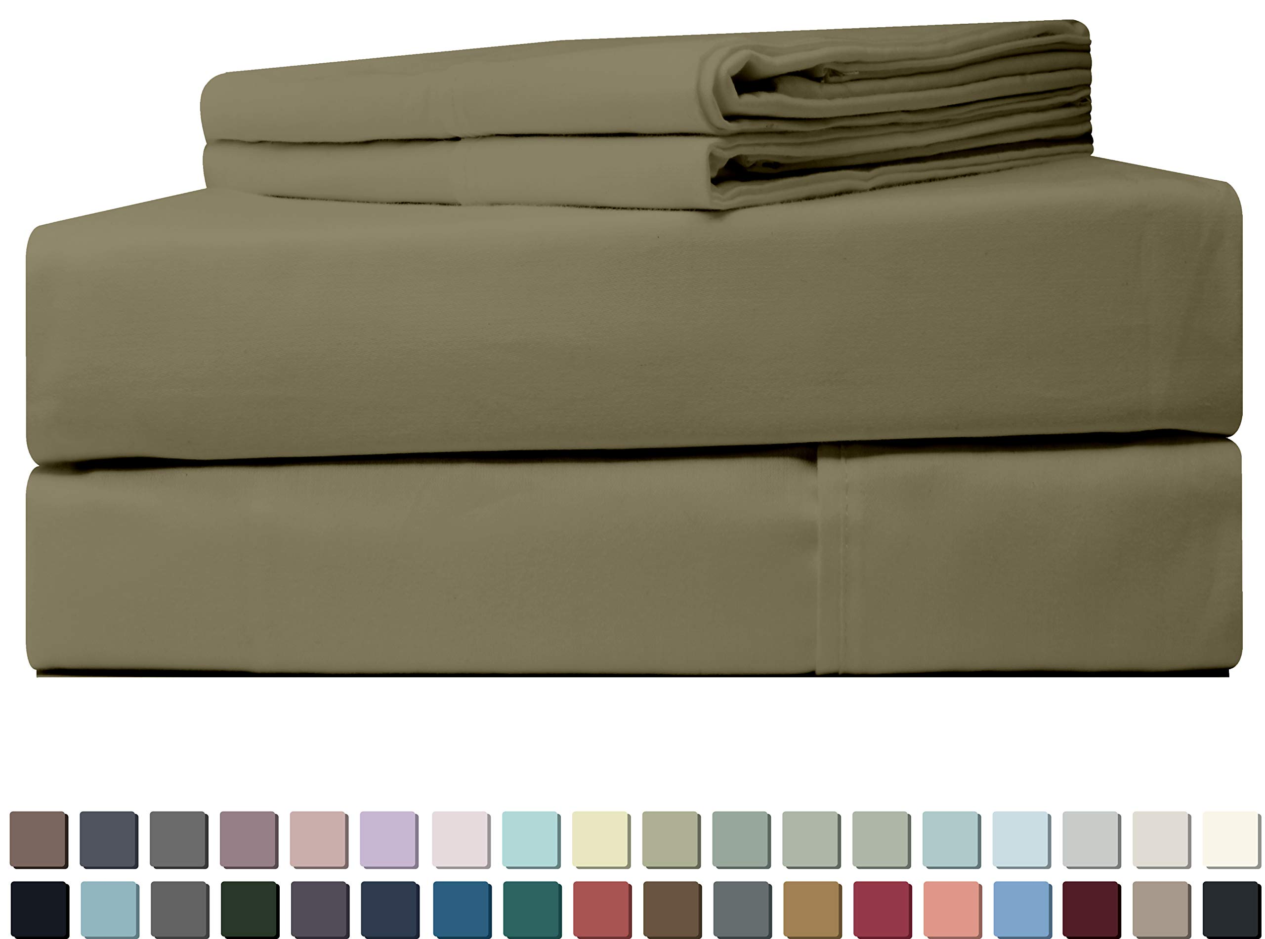 Five Elements 600-Thread-Count 100% Egyptian Pure Cotton Bed Sheet Set Beige Full, 4-Pc Extra Long-Staple Luxury Hotel Bedding, Soft Sateen Weave, Breathable, Fits Mattress Upto 18'' Deep Pocket