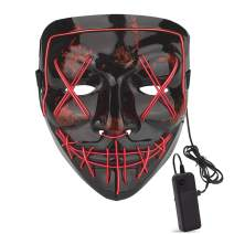 M.Jone Halloween Mask, LED Lights up Halloween Scary Mask with 4 Modes for Cosplay Halloween Holiday Party