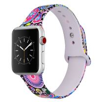VIGOSS Apple Watch Band 38mm Women, Soft Silicone Cute Strap Replacement Floral Print iWatch Band Flower Wristbands for Apple Watch Series 3/2/1 Sport Edition