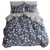 Duvet Cover Set Reversible Cotton Quilt Cover Set Modern Navy Blue Flower Pattern Bedding Sets Collection Queen-3 Pieces