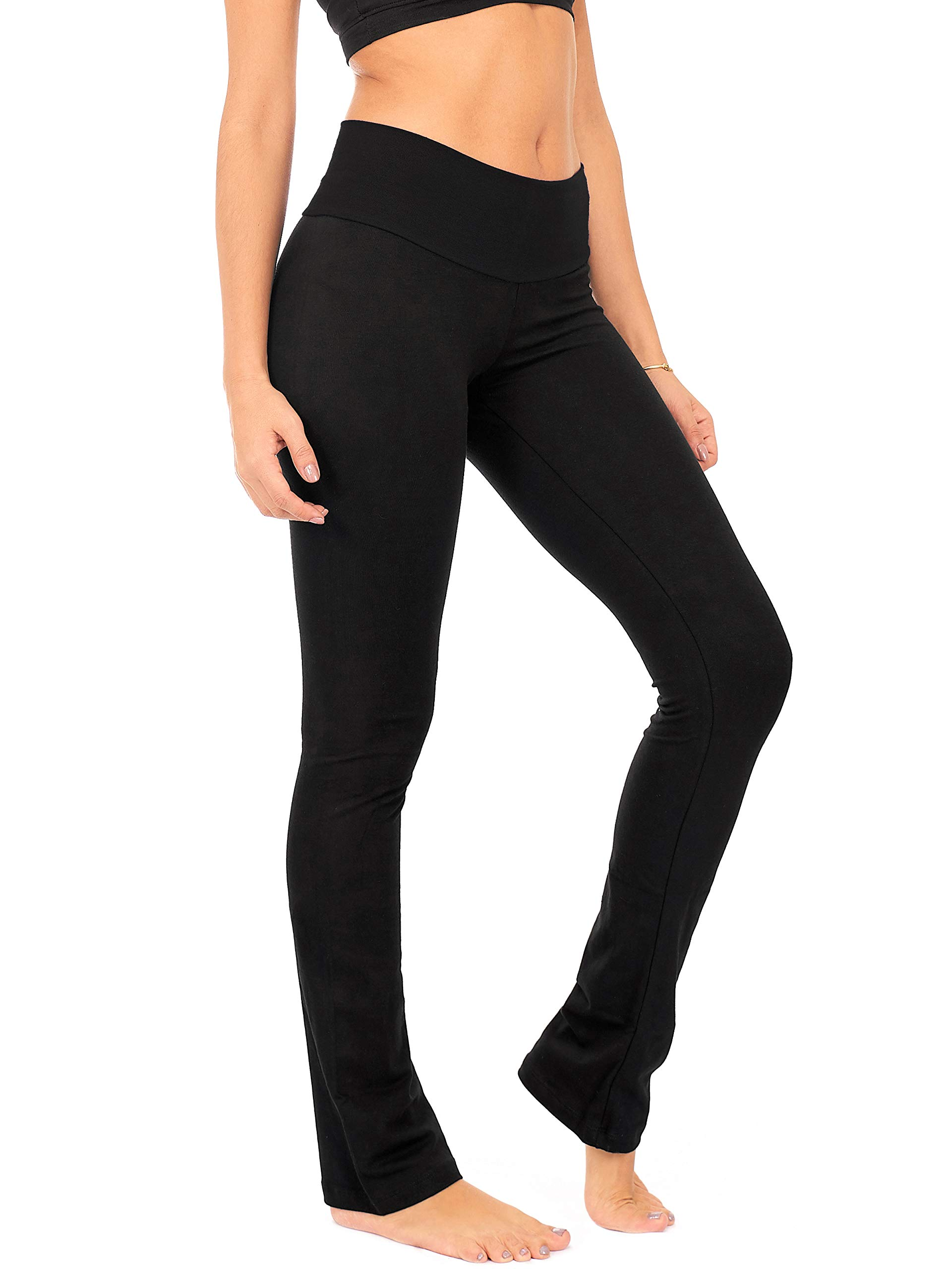 DEAR SPARKLE Bootcut Leggings for Women | Slim Look Bootleg Opaque Yoga Pants w Pocket + Plus Size (C5)