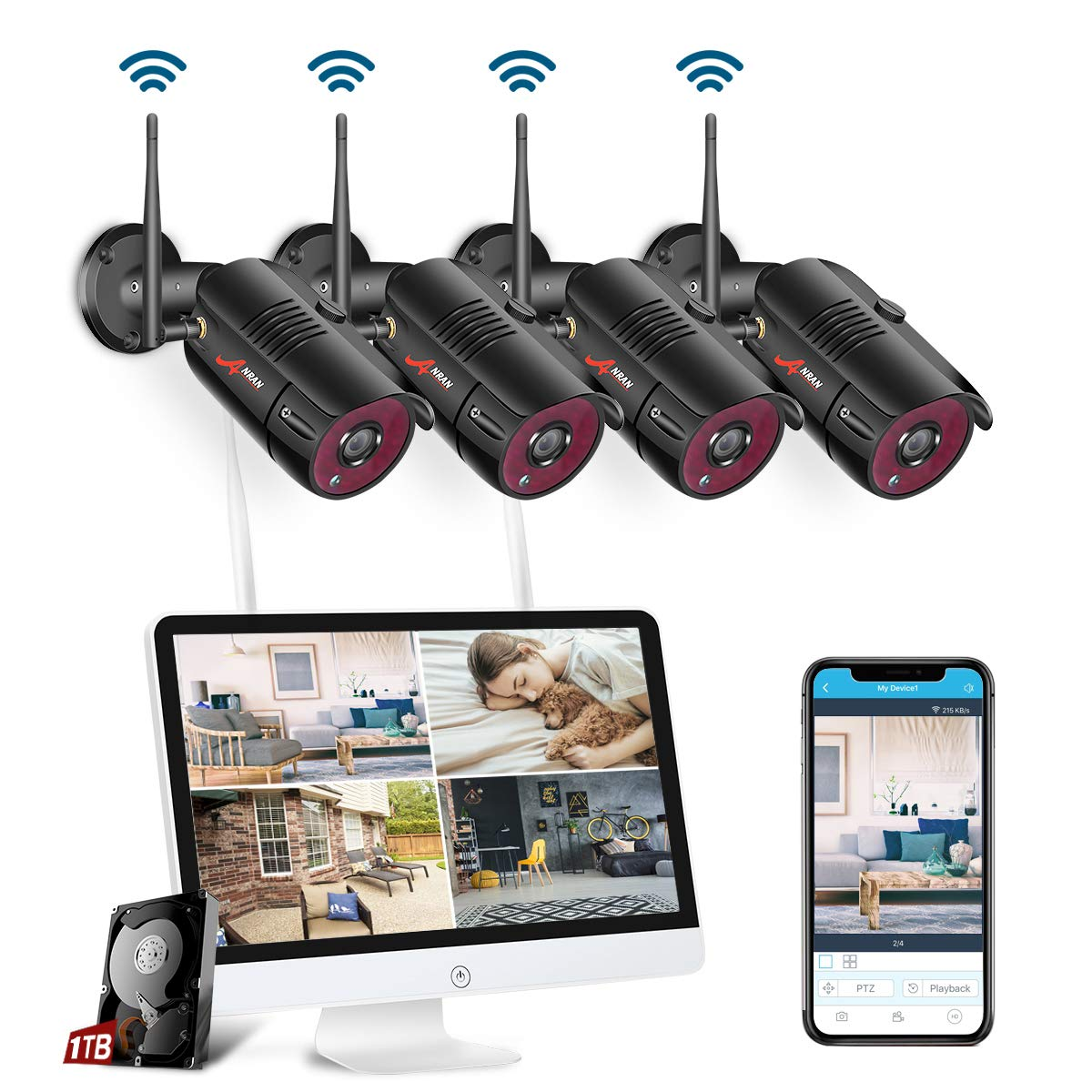 【All-in-One】 ANRAN 1080P Wireless Security Camera System with 15.6 Inch LCD Monitor 1TB HDD, 4CH Waterproof Indoor/Outdoor Wireless Surveillance Camera with Night Visio, Motion Detection,Plug&Play