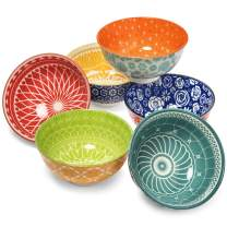 Annovero Dessert Bowls – Set of 6 Small Porcelain Bowls for Snacks, Rice, Condiments, Side Dishes, or Ice Cream, 4.75 Inch Diameter, 10 Fluid Ounce (1.25 Cup) Capacity