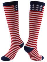 Gmall Novelty Funny Chicken Legs American Flag Cute Cartoon Knee Length Socks for Women and Men