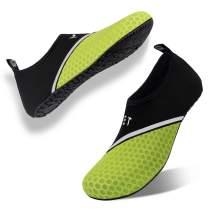 Water Swim Shoes Quick-Dry Barefoot Aqua Beach Socks for Women Men (Mesh-XB/Bright green-34/35)