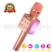 JeKaVis J-M10 Karaoke Microphone for Kids, Wireless Microphone with Bluetooth Speaker and Clear Sound, Party Birthday Gift Toys for iPhone/PC(Rose Gold)