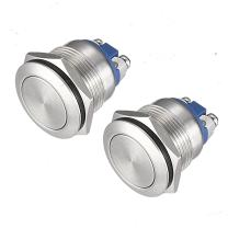 (Pack of 2) 19mm Momentary Push Button Switch Waterproof Stainless Steel Metal Flat Top 12V 24V 36 DC 110V 250V AC 5A 1NO SPST Screw Terminal APIELE [3 Year Warranty]