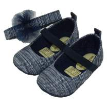 Baby Girls Mary Jane Flats with Soft Sole and Elastic Band Prewalkers with Matching Headband (Newborn/Infant)