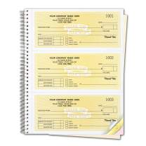 CheckSimple Customized Cash Receipt Books, 3-Per-Page w/ 3-Part Duplicates, Wire-Bound Book, Yellow (2000 Receipts)